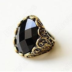 Discount China china wholesale Black Big Gem Carved With Flower Retro Ring 6464 [6464] - US$1.24 : DealsChic