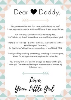 Cute dear daddy poem from a daughter to her father for Father's Day! Create your own to make a special gift for your dad. {pacific kid}