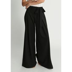 Ruche Blowing Kisses High Waisted Pants ($62) ❤ liked on Polyvore featuring pants, black, high-waist trousers, wide-leg pants, high rise pants, pleated pants and tie pants