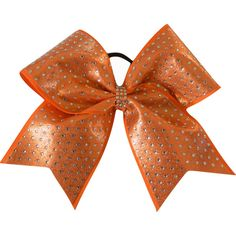 Sparkle Full Rhinestone Orange Cheer Bow Cheerleading Bow ($10) ❤ liked on Polyvore featuring accessories, hair accessories, black and ties & elastics
