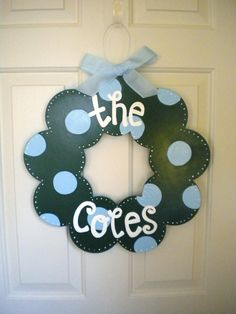 Personalized Polka Dot Family Wood Wreath - cute signs - polka dot signs - wedding gifts - family name signs. $44.95, via Etsy.