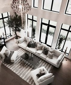 Living room is the place where you often used in the house everyday. In order to have quality time in the house, we need to make our living room comfortable, bu Living Room Interior, Home Living Room, Apartment Living, Living Room Designs, Living Room Decor, Modern Living Room Furniture, White Couch Living Room, High Ceiling Living Room, Rustic Apartment