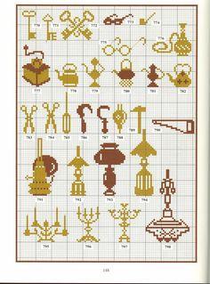 candelabras lamps keys cross stitch point de croix