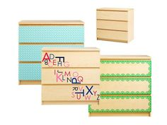 Decal your dresser! Try a cool pattern, scalloped edges, or alphabet letters. #hgtvmagazine http://www.hgtv.com/handmade/how-to-customize-a-simple-dresser-with-decals/index.html?soc=pinterest