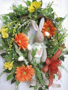 Easter Wreath Front Door Wreath Spring Wreath by FunFlorals