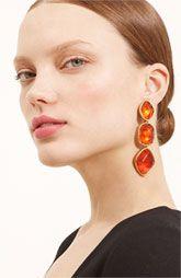 Oscar de la Renta Triple Drop Cabochon Clip Earrings