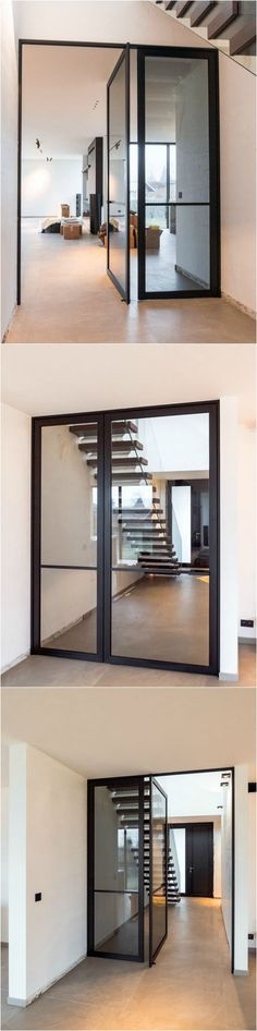 Pivoterende stalen deur met vast paneel voor trap. Deze pivoterende deur is uitgevoerd in zwart geanodiseerd aluminium en voor het scharniersysteem dient niets op voorhand in de vloer voorzien te worden!