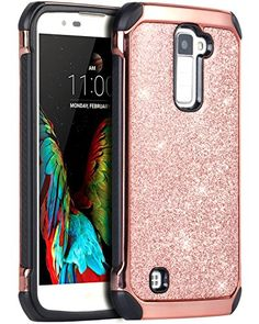 LG K10 Case LG Premier LTE L62VL L61AL Case BENTOBEN Sparkly Hybrid Hard Cover Laminated with Luxury Shiny Synthetic Leather Shockproof Protective Case for LG K10 MS428 K428SG Case Rose GoldBlack -- Check this awesome product by going to the link at the image. (This is an affiliate link)