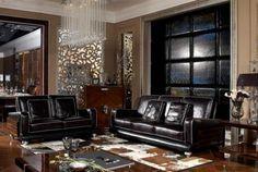 Living room black leather furniture 42 Ideas for 2019 Brown Couch Living Room, Living Room Green, Living Room Colors, Home Living Room, Living Room Furniture, Classic Furniture, Luxury Furniture, Furniture Design, Furniture Ideas