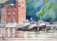 """Tugboats"" watercolour by Prabal Mallick, Bangalore, India. Available bpbilbao@gmail.com"