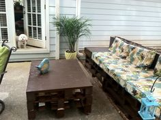 Outdoor sofa and table made from pallets