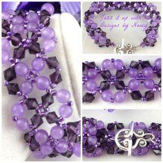 Lavender Amethyst Purple Swarovski Lace Handmade Woven Beaded Bracelet