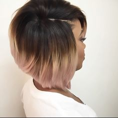 Hair & Beauty Glossary Ombre Hair Color for Black Women Short Bob Hairstyles, Afro Hairstyles, Hairstyles With Bangs, Bob Haircuts, Black Hairstyles, Hairstyles 2018, Ladies Hairstyles, Brunette Hairstyles, Asymmetrical Hairstyles