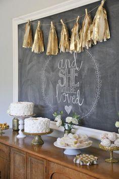 gold baby shower dessert table on littlemissmomma.com