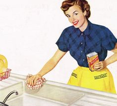 Kitchen Sink - detail from 1949 Bon Ami ad.  | Roger Wilkerson on tumblr