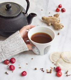 Guys, this Cherry Turmeric Bedtime Tea will undoubtedly change your coffee or tea life. I steeped chamomile tea in tart cherry juice and stirred in a heaping dose of ground turmeric, fresh ginger, and fresh whole tart cherries--> and Cherry Turmeric Bedtime Tea was born.
