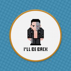 "The Terminator ""I'll be back"" cross stitch pattern. Free ($0)."