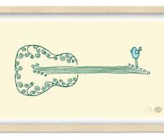 BlueBird Guitar Print | Matthew Allen folk art
