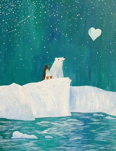 Polar Bear Penguin heart moon. baby nursery painting. $16.00, via Etsy.