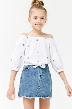 Girls rose print off-the-shoulder top (kids) preteen fashion, kids Preteen Fashion, Girls Fashion Clothes, Teen Fashion Outfits, Little Girl Fashion, Kids Fashion, Teen Clothing, Fashion 2020, 50 Fashion, School Fashion