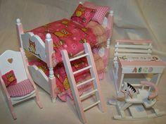 DOLLS HOUSE MINIATURES - ITS A HOOT - NURSERY BED SET