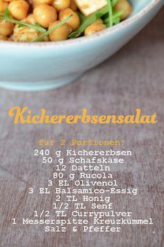 Rezept für Kichererbsensalat mit Datteln, Schafskäse und Rucola (www.rheintopf.com)