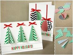 Homemade Christmas cards done by hand can make Christmas more traditional. While most people display their generic store-bought Christmas cards, yours will be sure to stand out. Here is a list of some creative homemade Christmas cards we've found. Modern Christmas Cards, Diy Holiday Cards, Homemade Christmas Cards, Christmas Cards To Make, Noel Christmas, Homemade Cards, Xmas Cards Handmade, Christmas Presents, Christmas Ideas