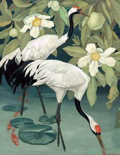 Jessie Arms Botke (American painter) 1883 - 1971 Sacred Cranes in a Tropical River, s.d. oil on board 40 x 32 ½ in. (101.6 x 82.6 cm.) signed Jessie Arms Botke, l.r.; and titled Sacred Cranes in a Tropical River on the reverse private collection