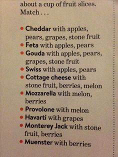 Cheese and fruit pairing