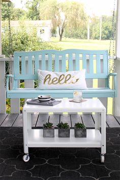 Like this metal table, porch swing too if it wasn't for that stupid pillow.  Five tips for outdoor decorating