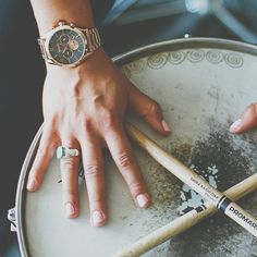 A tour de force in the music world; @warpaintwarpaintofficial's drummer Stella Mozgawa prowess on the drums made us fans. Watch her film now playing on Nixon.com/happenings - Nixon Watch - Bullet Chrono - For her