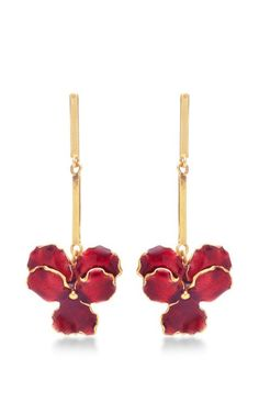 The Panze Earrings In 24K Gold With Red Enamel by Madina Visconti for Preorder on Moda Operandi