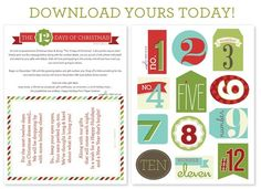 "Free Printable ""The 12 Days of Christmas"" Tags via @somewhatsimple"