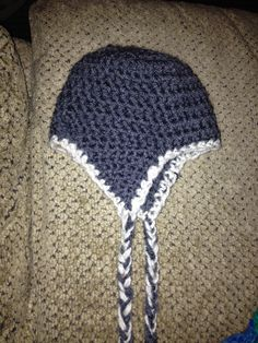 Crocheted baby hat; another view