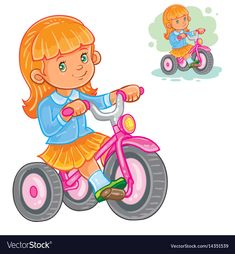 Small girl ride tricycle vector image on VectorStock Character Portraits, Portfolio, Adobe Illustrator, Illustration, Vector Free, Children, Wall Paintings, Fictional Characters, Cartoons