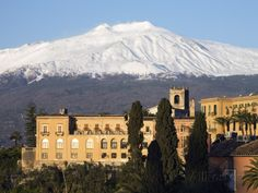 View over Taormina and Mount Etna with Hotel San Domenico Palace, Taormina, Sicily, Italy, Europe Photographic Print by Stuart Black at AllPosters.com