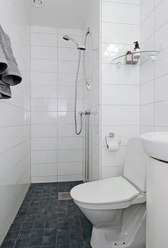 Small ensuite design reminds me of a gym... But would actually work perfect in our tiny bathroom... Interesting