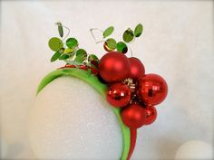 Holiday Ornaments Holly Fascinator Headband - Ugly or tacky Christmas sweater accessory by LadyKates
