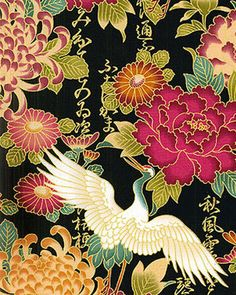 DREAMSCAPE OF FLORALS & CRANES : JAPANESE ASIAN QUILT FABRIC - Black - 1/2 YD