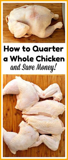 Cooking basics.How to Quarter a Whole Chicken- You can save a lot of money on meat if you know how to quarter a whole chicken at home. And it only takes 5 minutes! Check out my easy tutorial! #frugalLiving #chicken #cookingtips #saveMoney