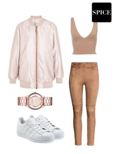 Spice Look #49 | Simple Cute Fashion Lazy Day Outfit ft. ACNE Studios Bomber Jacket + Zara Suede Leggings + adidas Original Superstar Sneakers + Marc by Marc Jacobs Rose Gold Watch