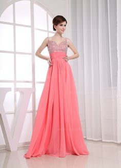 Sexy Prom Dresses New Spaghetti Straps Sleeveless A Line Ruffles Crystal Beading Chiffon Zipper Evening Gowns _Prom Special Occasion Dresses_Wedding Dresses Cute Wedding Dress, Fall Wedding Dresses, Colored Wedding Dresses, Bridesmaid Dresses, Prom Dresses, Dress Prom, Chiffon Dresses, Bridesmaids, Prom Outfits