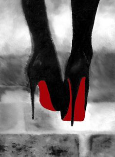 "Art Print of CHRISTIAN LOUBOUTIN Womens Black Shoes Oil Painting 10 x 8 ""  High Heels Black and White Edition. $15.99, via Etsy."