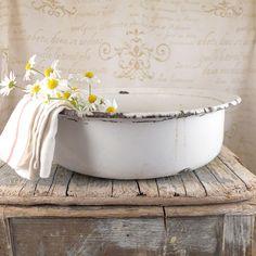 A huge white enamel bowl , enamel, vintage, kitchen, silesia, kitchen, bowl, shabby chic, enamel, enamel bowl