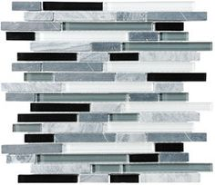 Bliss Midnight Stone and Glass Linear Mosaic Tiles