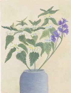 White DeadNettle and Bluebells Acrylic Painting di SpiralSpun