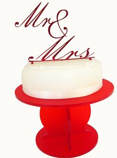 Acrylic Mr and Mrs red mirror wedding or celebration cake topper- Folksy £15.99