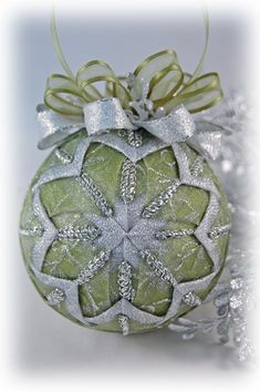 sage green silver christmas ornament ball
