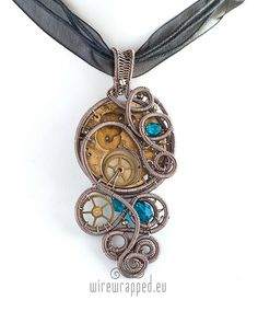 OOAK Steampunk wire wrapped pendant with blue beads by ukapala, €39.00