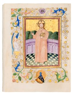 Translated into Dutch vernacular by Geert Groote. Border decoration in 'the coloured Delft style' and in 'the 'kriezel-style'. Medieval Books, Medieval Manuscript, Illuminated Manuscript, Salvator Mundi, Amsterdam Red Light District, Illumination Art, New York Museums, Book Of Hours, Utrecht